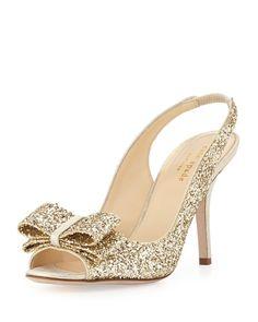 kate spade new york charm glittered bow slingback, platinum