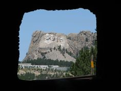 the point at which Mt. Rushmore comes into view when driving on the Pig Tails of Iron Mountain Road, Black Hills, South Dakota.