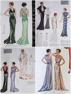 McCall 8109, 7866 (after Lanvin), 7754 and 7714 | McCall 8115, 8331 and 8363 | ca. 1935 Evening Dresses