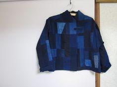 藍染無地 はぎれでミシンパッチのジャケット製作します : 古布や麻の葉