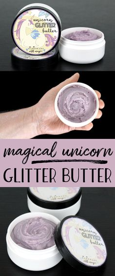 Magical Unicorn Glitter Butter Recipe for a more magical summer! This magical unicorn glitter butter recipe is perfect DIY for parties! Scented with a sweet candy crush fragrance oil, this lavender colored unicorn glitter butter leaves a lovely layer of iridescent sparkly glitter on skin wherever it's applied! Makes a great gift idea for teen girls!