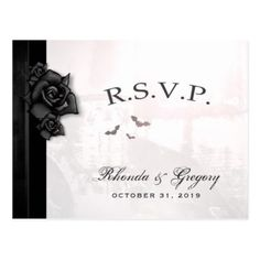 Halloween Black Gothic Matching RSVP PostCard - Halloween happyhalloween festival party holiday