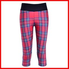 New 1087 Sexy Girl Women plaid tarta red Stripe 3D Prints Workout Fitness stretchy Cropped Trousers Women Leggings Pocket Pants