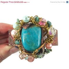ON SALE Turquoise Amazonite Cuff Bracelet  di InVintageHeaven