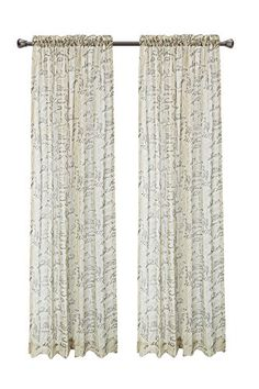 Euphoria CaliTime French Script Faux Linen Sheers Window Curtains Panel 50 X 84  1PC Taupe >>> Click image for more details.