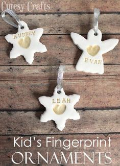 Need a Christmas craft for the kids? Make these pretty fingerprint ornaments with some clay and paint. christmas crafts for kids Kid's Fingerprint Handmade Christmas Ornaments - Cutesy Crafts Kids Crafts, Hobbies And Crafts, Childrens Christmas Crafts, Kids Diy, Kids Craft Christmas Presents, Jar Crafts, Christmas Decorations With Kids, Handmade Christmas Gifts From Children, Diy Christmas Ornaments For Toddlers