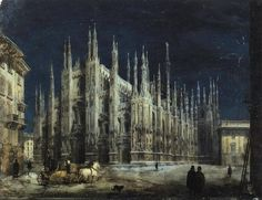 Angelo Inganni (1807-1880) Cathedral Square at Night (Piazza del Duomo, Milan)