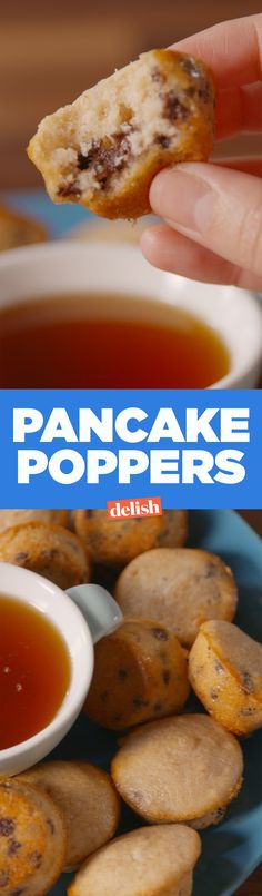 These Pancake Poppers are like warm, homemade Entenmann's Little Bites. Get the recipe on Delish.com.