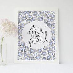No Grit No Pearl Pearl Art Print Pearl Sayings Digital