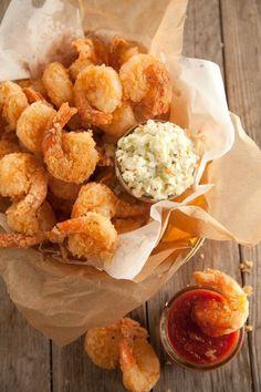 Fried Shrimp Recipe - by Paula Deen _ Shrimp dipped in milk, buttermilk, & hot sauce mixture, & dredged in cornmeal & flour mixture. Amazing Recipe!