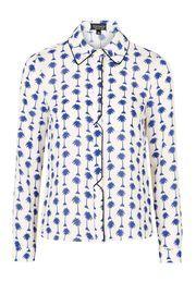 Palm Print Long Sleeve Shirt - BLUE
