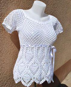 White Summer Crochet Blouse