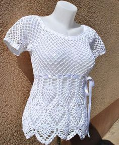 White Summer Crochet Blouse