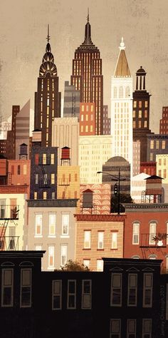 illustration NYC skyline by roshieverde Abstract Illustration, Illustration Vector, Art Et Illustration, Building Illustration, Creative Illustration, New York City Skyline, Nyc Skyline, City Skyline Art, Cityscape Art