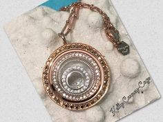 Rose gold crystal face locket with with our Nesting Bubbles and stardust crystals. SparkleWithJennifer.OrigamiOwl.com