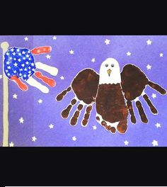 Handprint American Flag and bald eagle.such a cute kids craft for the of July/memorial day! - Crafting For The Holiday Cute Kids Crafts, Daycare Crafts, Toddler Crafts, Preschool Crafts, Toddler Toys, Baby Toys, Science Crafts, Kid Crafts, Patriotic Crafts