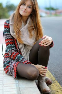 beautiful sweater pullover scarf white pantyhose boots . Dress for this summer | Gloss Fashionista