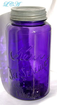 GIGANTIC size exquisitely purple color antique KERR Self Sealing Wide Mouth MASON Fruit - canning jar from Oklahoma dated 1915