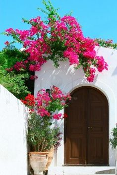 Photo A door in Isle of Rhodes, Greece. I love the white building with the beautiful pink flowers and the arched door.A door in Isle of Rhodes, Greece. I love the white building with the beautiful pink flowers and the arched door. Beautiful World, Beautiful Places, Greece Holiday, Backyard, Patio, Spanish Style, Spanish Revival, Rhodes, Doorway