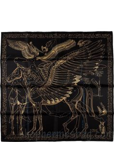 "Hermes Black & Gold ""Le Pegase d'Hermes,"" by Renonciat SilkScarf $593"