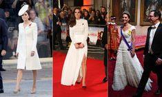 Podczas pełnienia królewskich obowiązków księżna Cambridge chętnie sięga po elegancką biel w postaci płaszczy czy eleganckich sukienek. Vogue Wedding, Mcqueen