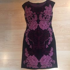 "Stunning Ann Taylor dress. Stunning AnnTaylor dress.Bergandy/Rose/Black print.Stretchy fabric. 15""between under arms.Waist27"". Shoulder-hem35"".Hips 32"". Ann Taylor Dresses Mini"