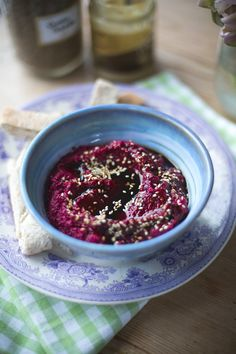 Beetroot Hummus with homemade flatbreads. | DonalSkehan.com