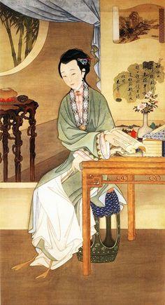 """十二美人圖。雍親王題書堂深居圖屏『觀書沉吟』,1709-1723。""""The Twelve Beauties,"""" """"Twelve Concubines of the Emperor Yongzheng.""""#1"""