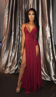 Carmen Double Split Dress - Wine   Sorelle UK