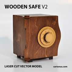 Wooden SAFE. Version 2.0 Vector model / project plan for laser cutting. http://cartonus.com/safe-of-plywood/ Ready for laser cut and laser engraving. Gift #1 for friends. A good business idea. Unusual, interesting and useful! The second version of WOODEN SAFE has: – more strong body, – reinforced hinges, – easy assembly, – adjustable lock code. Create of plywood 3.2 mm (1/8 inch). Dimension internal: 84x84x104 mm. Dimension external: 112x104x120 mm. Digital product includes AI, EPS, PDF, C