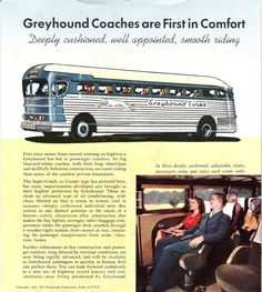 Greyhound Bus Line My grandpa passed. So we took the Bus a lot Vintage Boats, Vintage Trucks, Bus City, Bus Travel, Vacation Travel, Buses And Trains, Old Advertisements, Travel Brochure, Bus Station