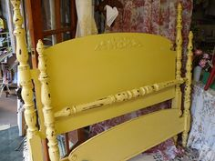 Antique Bed 4 Poster Headboard and Foot by VintageAppleTreasure