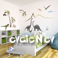 Children Wall Decals - Dinosaurs Family by the Lake Scene Wall Stickers - PLDN010. $139.00, via Etsy.