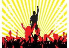 Party Crowd Background 121579 -  Parties and dancing vector graphics of a background template. Brightly colored rays, speakers and silhouettes of people having fun. Big dancing crowd, hands raised in the air and silhouette of a man with liberty spikes and hand raised in a fist. Free vector for party posters and flyers.  - https://www.welovesolo.com/party-crowd-background-3/?utm_source=PN&utm_medium=weloveso80%40gmail.com&utm_campaign=SNAP%2Bfrom%2BWeLoveSoLo