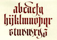 Gothic was a popular medieval calligraphy.  It was also called Blackletter for the dark appearance of a written page.  The letters ...