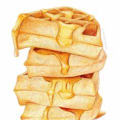 Waffles and Syrup Painting // Food Illustration от KendyllHillegas