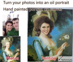 Custom oil portrait-A women holding the flowers