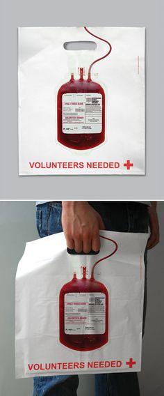 紅十字會的捐血廣告 Red Cross shopping bag Red cross shopping bag strikes simple design and impactful execution (via adsoftheworld.com)