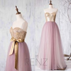 Rose Gold Sequin Pink Tulle Bridesmaid Dresses Metallic Sweetheart Long Party Dresses For Maid Of Honor Dress Custom…
