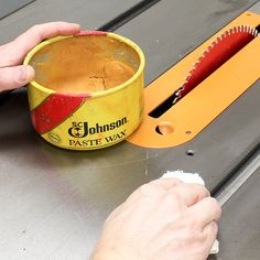 Wax your table saw not only to keep it looking its best but to help reduce oxidation, reduce friction and to maximize performance.