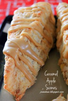 Caramel Apple Scones by joandsue.blogspot.com. Start to finish in about 30 minutes. These are amazing!