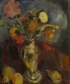 Vaas met bloemen en vruchten (Vase with flowers and fruits), 1917 by Gustave de Smet