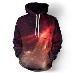 """belovedwear® presents the #nebula Hoodie This """"all over"""" print crewneck sweatshirt is made using a special sublimation technique to provide a vivid graphic image throughout the shirt. • 100% Polyester"""