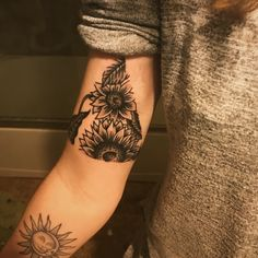 Triangle sunflower tattoo