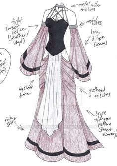 MHcd – Captive in Finery von ~ auf deviantART // LoveLiesBleeding … – - therezepte sites Dress Drawing, Drawing Clothes, Fashion Design Drawings, Fashion Sketches, Dress Sketches, Anime Dress, Anime Outfits, Male Outfits, Character Outfits
