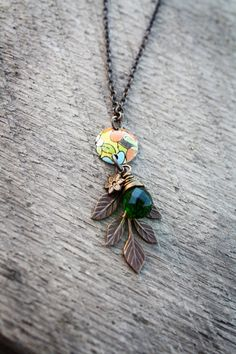 Zoey Necklace  Vintage Tin Handmade Upcycled by SweetSageJewelry, $30.00