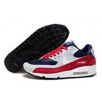Basket Nike Air Max 90 Hyperfuse Premium Marine Argent Bleu Blanc Rouge Rouillé Pas Cher Chaussures De Course Soldes-20