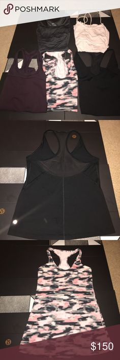 BUNDLE LULULEMON TANKS All Size 6!! No material issues like NWOT! Black Vneck mesh, pink Camo, Bordeaux mesh, grey racer back(90 degree brand), pink strappy back cotton lululemon athletica Tops