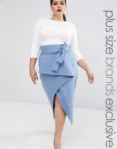 Buy Lavish Alice Plus Wrap Front Detail Column Midi Skirt at ASOS. Get the latest trends with ASOS now. Plus Size Fashion For Women, Plus Size Womens Clothing, Size Clothing, Clothes For Women, Plus Size Dresses, Plus Size Outfits, Asos, Spring Outfits Women, Plus Size Kleidung