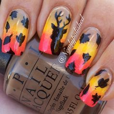 I am unfolding before you 25 amazing fall nail art designs, ideas, trends & stickers of these autumn nails are spectacular. Deer Nails, Camo Nails, Fun Nails, Fall Nail Art Designs, Nail Polish Designs, Hunting Nails, Thanksgiving Nail Art, Thanksgiving Ideas, Country Nails